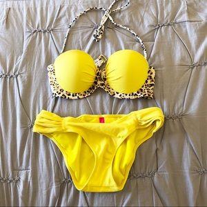 Victoria's Secret Yellow Leopard Print Bikini Set
